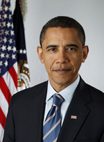 Official portrait of Barack Obama. He is wearing a suit jacket and stripped tie, and an American flag lapel pin. There is an United States Flag is in the background.