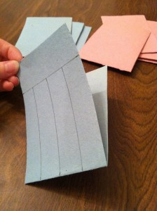 Draw lines for where to cut for woven paper heart construction